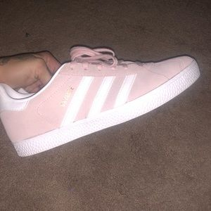 Light pink adidas gazelles